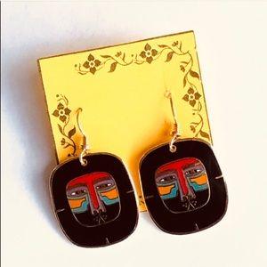 Vintage Laurel Burch Mayan Lion Pierced Earrings